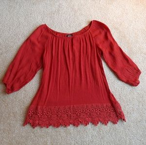 NWOT Bobeau orange lace blouse